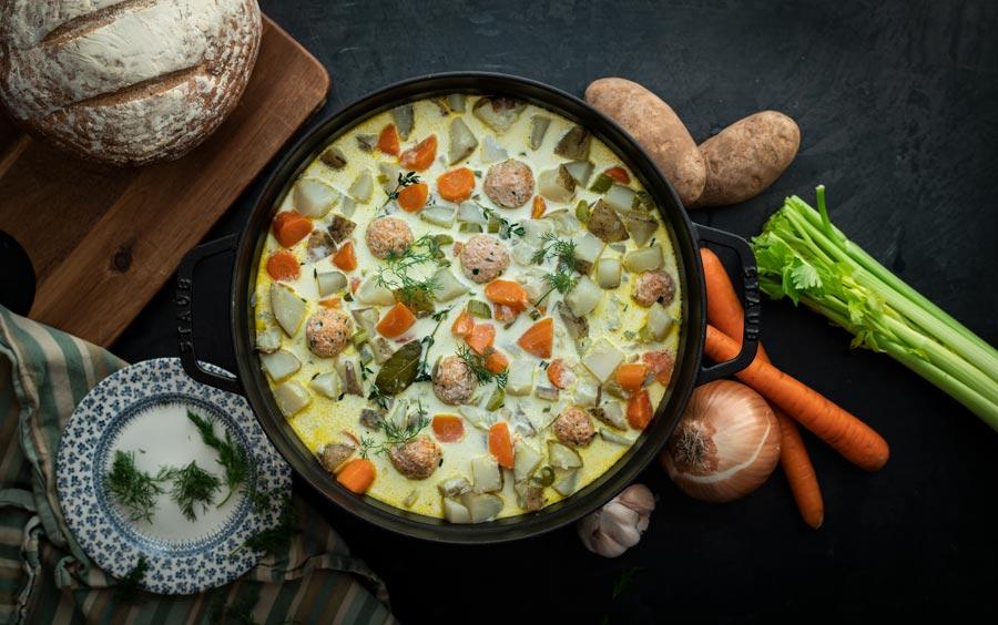Warm Winter Chowder with Popsie Salmon Mince Meatballs